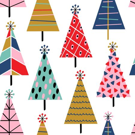 seamless pattern with christmas trees on white background - vector illustration Standard-Bild - 131978376