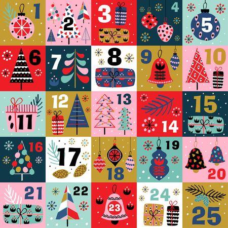 Calendrier de l'Avent avec des décorations de Noël et des arbres de Noël - vector illustration, eps
