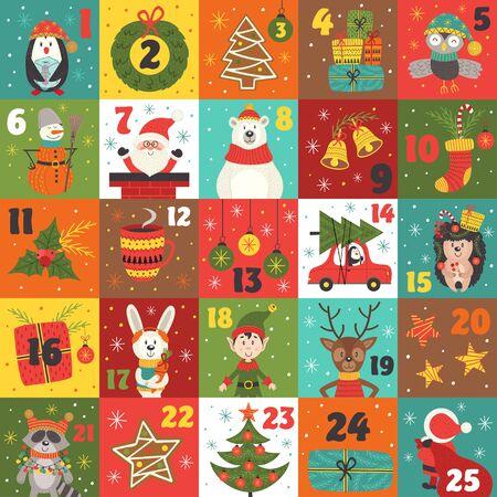 kalendarz adwentowy z dekoracjami świątecznymi i postaciami świątecznymi - ilustracja wektorowa, eps