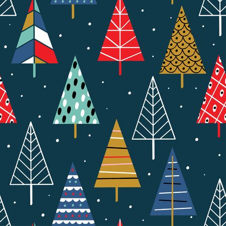 seamless pattern with colorful christmas trees - vector illustration Standard-Bild - 131978377