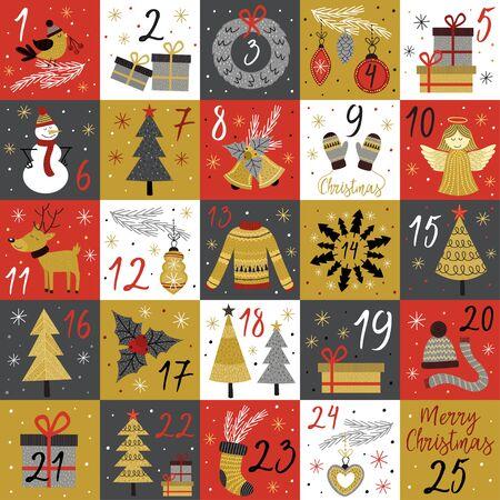 Calendario de Adviento con elementos y personajes navideños dorados - ilustración vectorial, eps