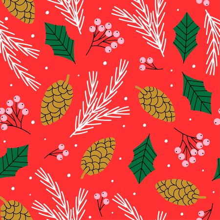 winter seamless pattern with spruce branch, rowan and cone - vector illustration Standard-Bild - 131978372