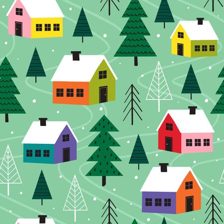 seamless pattern with colorful houses in winter time - vector illustration Standard-Bild - 131978373