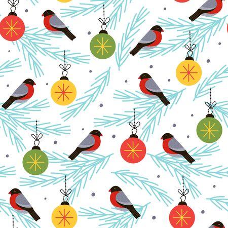 seamless pattern with bullfinch on a spruce branch - vector illustration Standard-Bild - 131978379