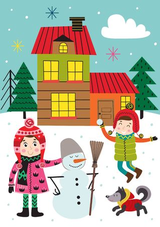 poster with with kids in winter time outdoors - vector illustration Standard-Bild - 131978378