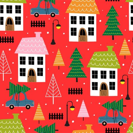 seamless pattern with small town in winter time - vector illustration Standard-Bild - 131978386