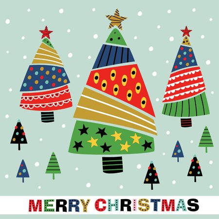 greeting card with decorative christmas trees - vector illustration, eps
