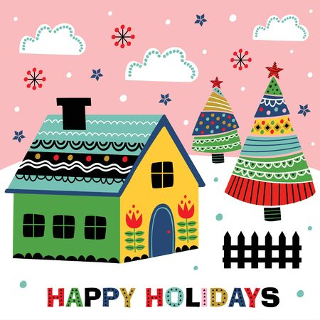 greeting card with decorative house and christmas trees - vector illustration, eps