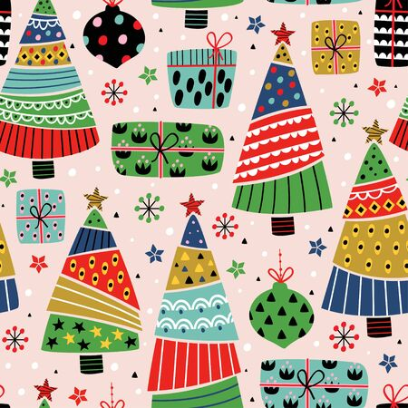 seamless pattern with decorative tree and gifts - vector illustration Standard-Bild - 131978385
