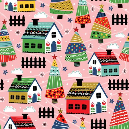 seamless pattern with decorative house and christmas trees - vector illustration Standard-Bild - 131978384