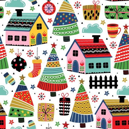 seamless pattern with decorative houses and christmas decoration - vector illustration Standard-Bild - 131978388