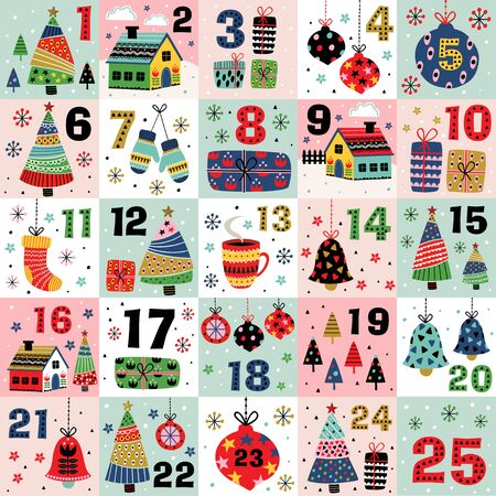 advent calendar with christmas decorations christmas trees and houses - vector illustration Standard-Bild - 131978389