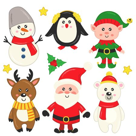 set of isolated cute Christmas characters - vector illustration, eps