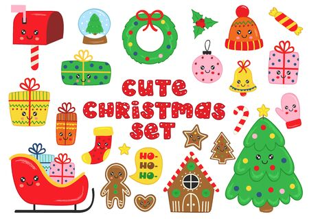 set of isolated cute Christmas elements - vector illustration, eps Standard-Bild - 131969290
