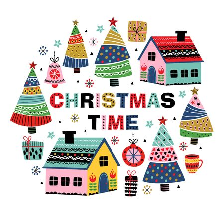 greeting card with decorative houses and christmas trees - vector illustration, eps Standard-Bild - 131968707