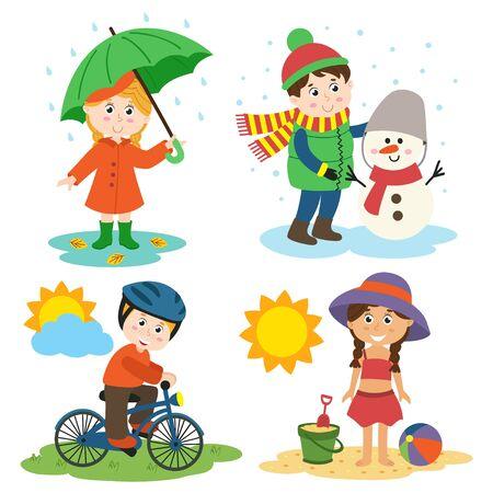 los niños y las cuatro estaciones - ilustración vectorial, eps