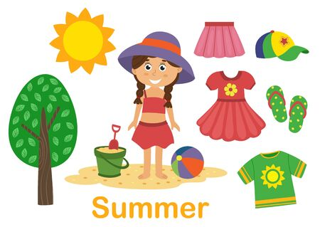 isolated summer set with girl, tree and clothes
