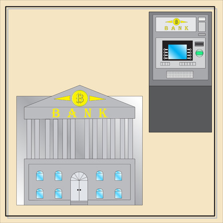 internet terminals: Vector ATM and bank with bitcoin Design Illustration