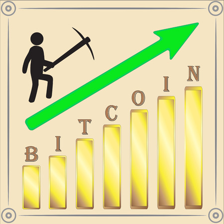 Bitcoin miner increased production. Vector illustration. Illustration