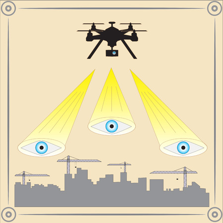 edifice: Drone flying above city construction