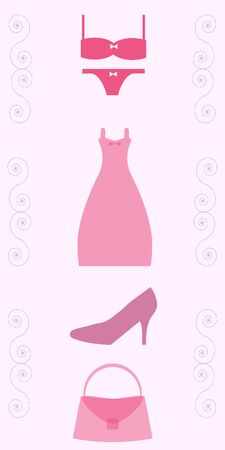 clothing store: advertising clothing store with a picture of the dress, underwear, bags and shoes on a pink background