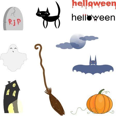 haunted: cartoon set Halloween Illustration