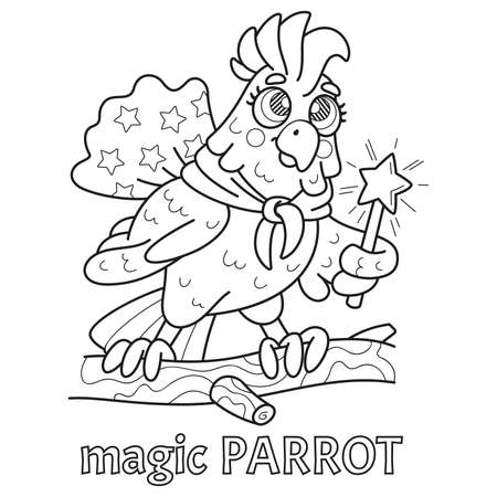 Childrens coloring book parrot wizard.