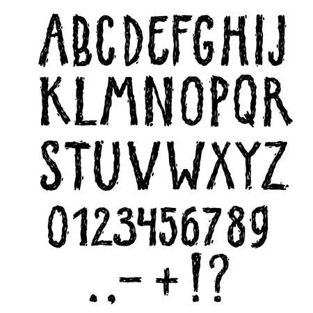 Vector black-and-white accidental font. Hand-drawn with a grunge texture.