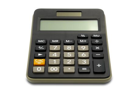 Calculatrice de bureau de type classique isolé sur fond blanc Banque d'images