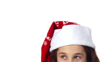 The head of a girl dressed in a Santa Claus hat is shown close up