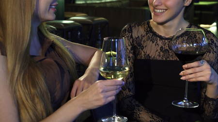 Cropped shot of two young happy women smiling talking over a glass of wine at the bar