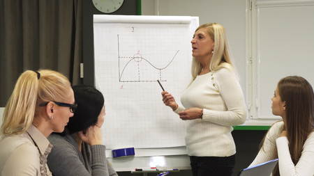 Mature businesswoman leading business meeting with colleagues