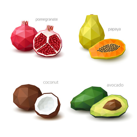 Set of polygonal fruit - pomegranate, papaya, coconut, avocado. Vector illustration Çizim