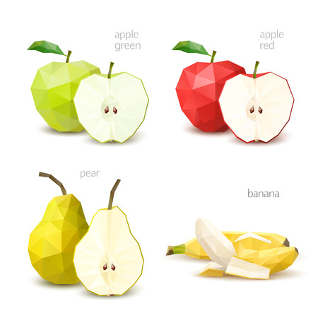 Polygonal fruit - green apple, red apple, pear, banana. Vector illustration