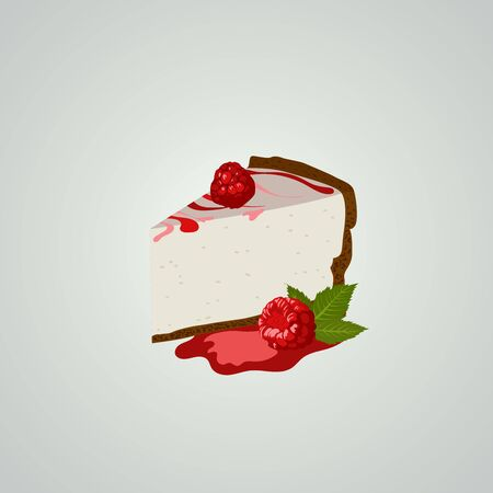Raspberry cheesecake on gray background. Vector illustration. Tasty and delicious dessert.