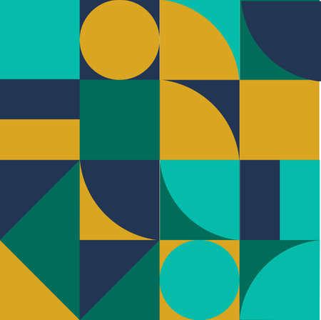 Geometric minimalistic background with simple shapes of retangle, circle, triangle for wed banner, poster, presentation, print, fabric. Abstract vector art in intensive colors.