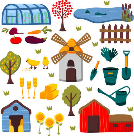 Farm set, vector cartoon hand drawing illustration. Local products, farmers gardens works, buildings, plants, vegetables, fruits, instruments.