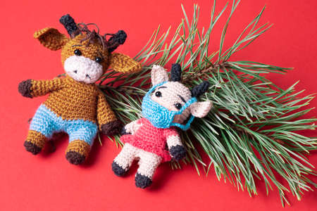 Two knitted bull toys on a red background. The cow toy is wearing a protective face mask.
