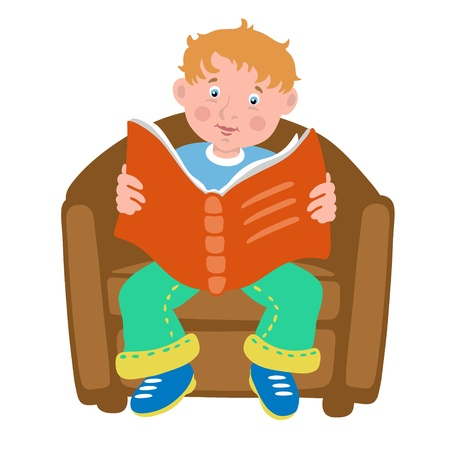 Boy on a chair reads the book - isolated Vector Illustrations Stock Vector - 17775286