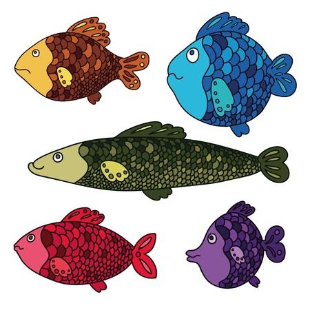 bunter fisch: Bunte Fische set Vector illustration
