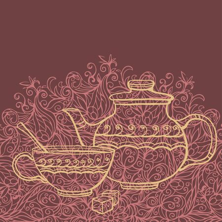 pottery: Background with teapot, cup and sugar