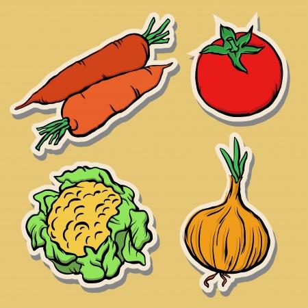 콜리 플라워: 고립 된 야채 세트 - 벡터