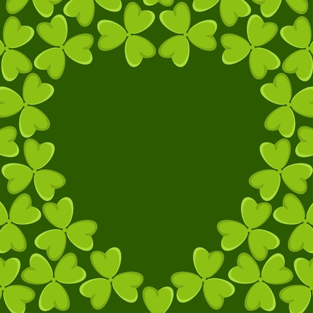 Green abstract background with shamrocks - vector Vector