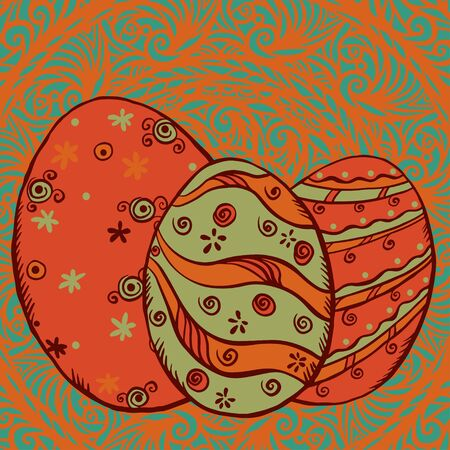 Easter eggs on floral background - vector  Stock Vector - 18120036