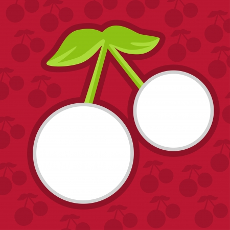 Card with cherries on a red background-vector  Stock Vector - 18119932