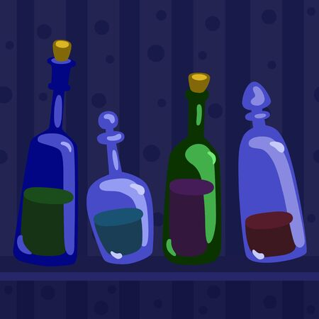 Still life with bottles - vector background illustration
