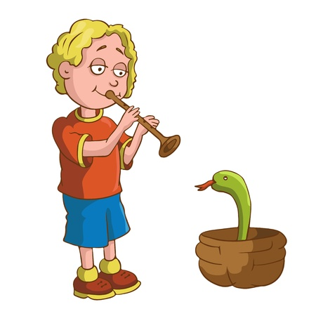 Boy with a pipe and a snake in a basket - cartoon vector illustration Stock Vector - 18119997