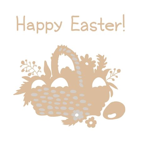 Background with basket and easter eggs - vector Vector