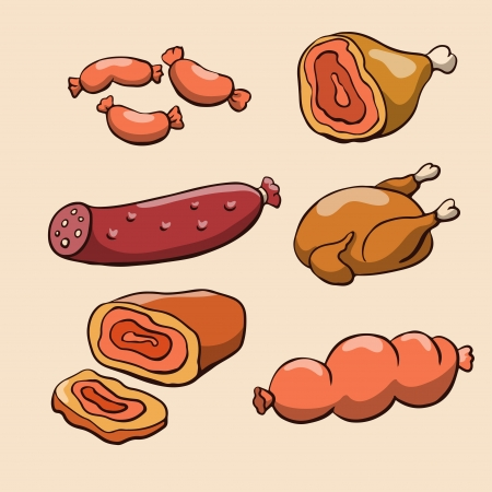 Meat products and chicken - vector Stock Illustratie