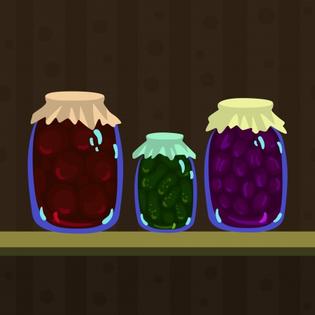 Still Life with canned vegetables and fruits in pots - vector Vector